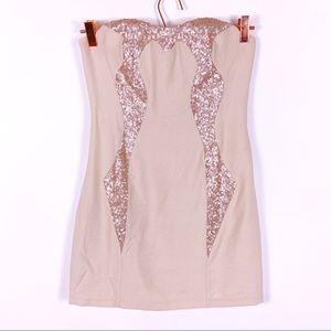 Keepsake | Tan Linen Rose Gold Sequin Mini Dress